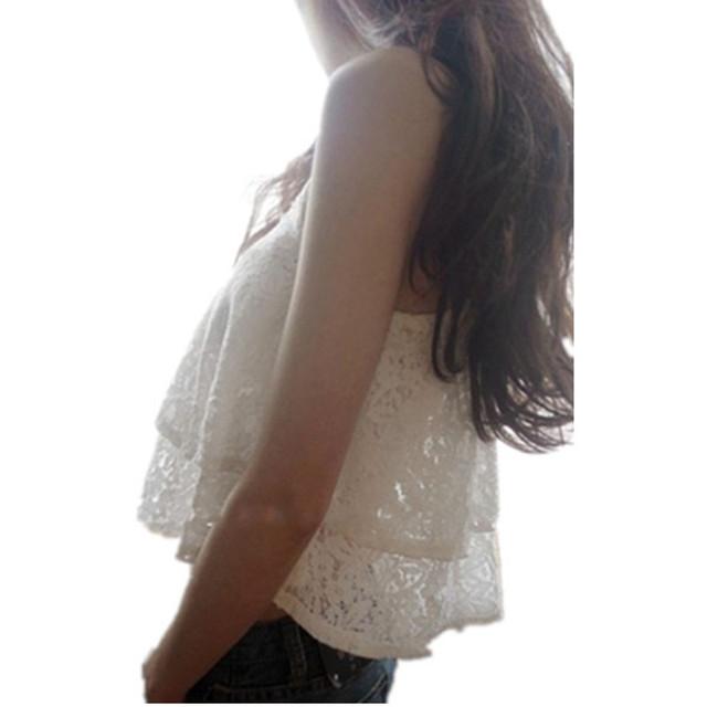 Topos de verão sensuais 2016 Flyaway Dupla Camada Cascata Preto Sem Mangas Lace Branco Top Colheita camisolas para mulheres LC25439