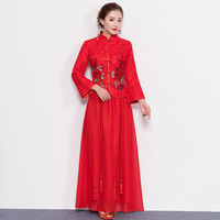 Floral Cheongsam Suit Red Classic Embroidery Bride Wedding Dress Slim Oriental Evening Gowns Traditional Stage Show Qipao Set