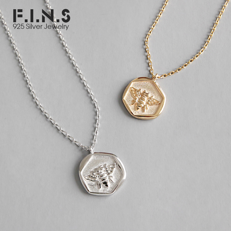 F.I.N.S S925 Sterling Silver Rose Gold Cor Hexagon Esculpida Pequena Abelha Colares Pingentes para As Mulheres 925 Jóias de Prata Fina