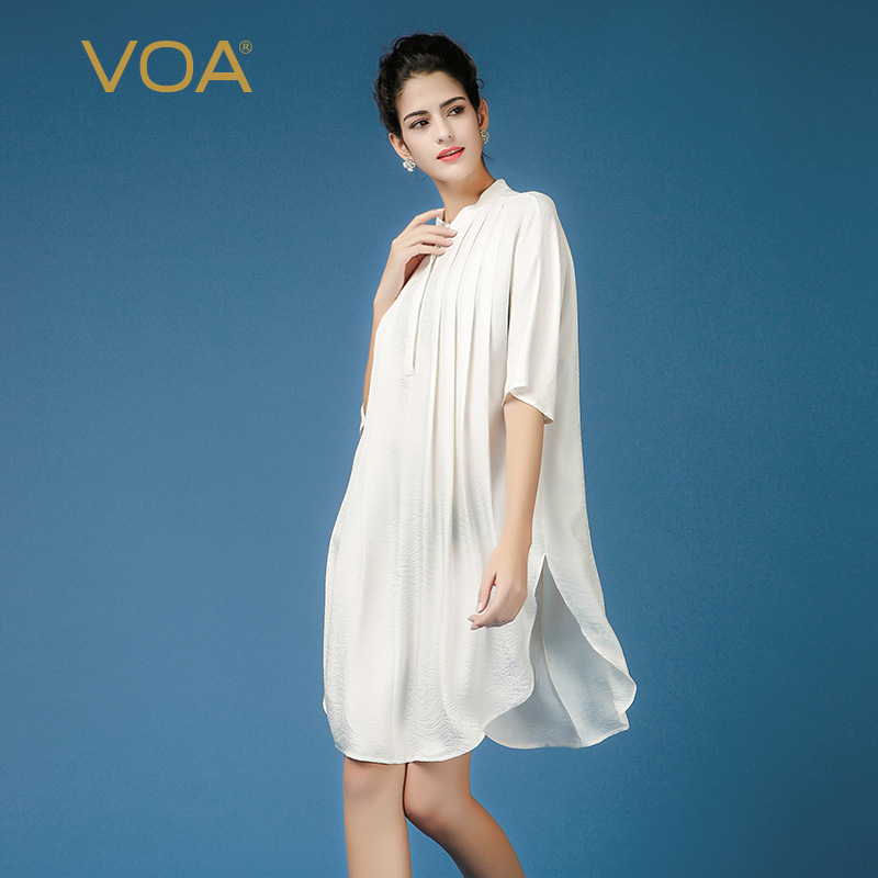 VOA белый 100% шелковая блузка Повседневное женские офисные Топы Весна Половина рукава рубашки корейской моды Костюмы свободные плюс Размеры