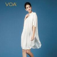 VOA однотонные белые свободные длинные шелковая блузка для женщин Европейский уличный Половина рукавом Стенд воротник рубашки B7393