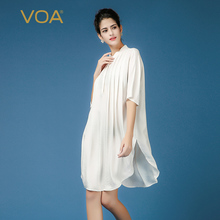 VOA solid white loose long silk blouse for women European street half sleeve stand collar shirts B7393
