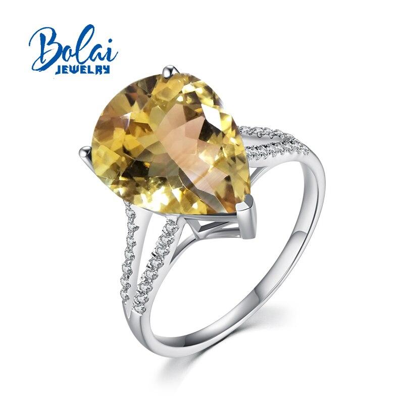 Bolaibijoux, anneaux de citrine poire naturelle de pierre gemme 12*16mm conception simple 925 bijoux fins en argent sterling pour les cadeaux d'anniversaire de femme