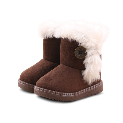 2019 Hard Sole 4 Color Winter Children Snow Boots Warm Thick Plush Kids Boots Suede leather with Fur Girls Boys Cotton Shoes2019 Hard Sole 4 Color Winter Children Snow Boots Warm Thick Plush Kids Boots Suede leather with Fur Girls Boys Cotton Shoes