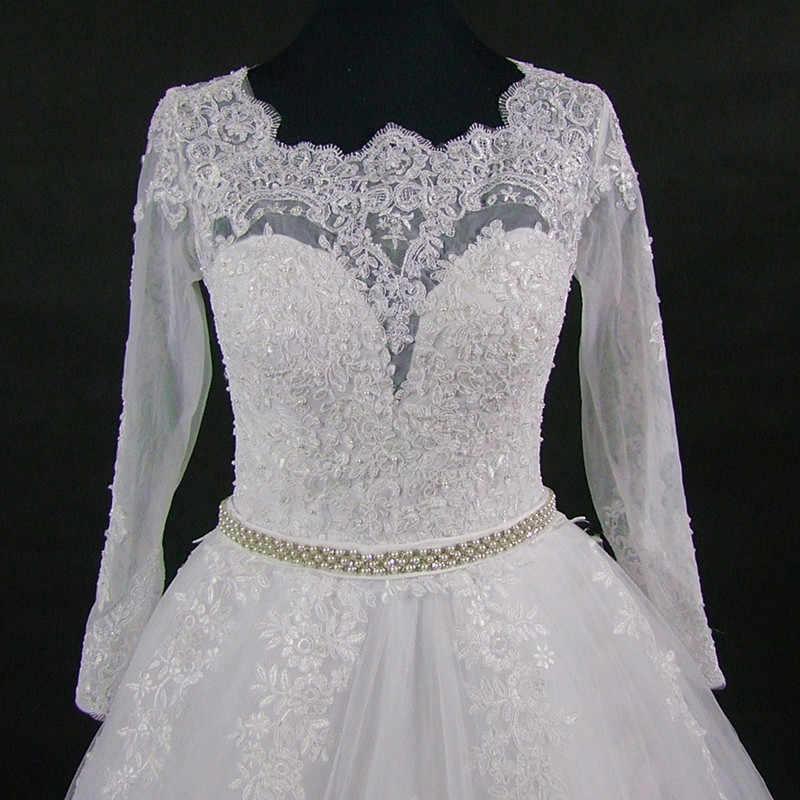 QQ מאהב 2019 הגעה חדשה Vestido דה Noiva מדהים חזרה עיצוב מלא שרוולי תחרה חתונה שמלת חתונת שמלת כלה שמלה