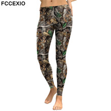 FCCEXIO New Style Camo Trees Branches 3D Printed High Quality Slim Legging Women Casual Home Leggings Woman Fitness Pants