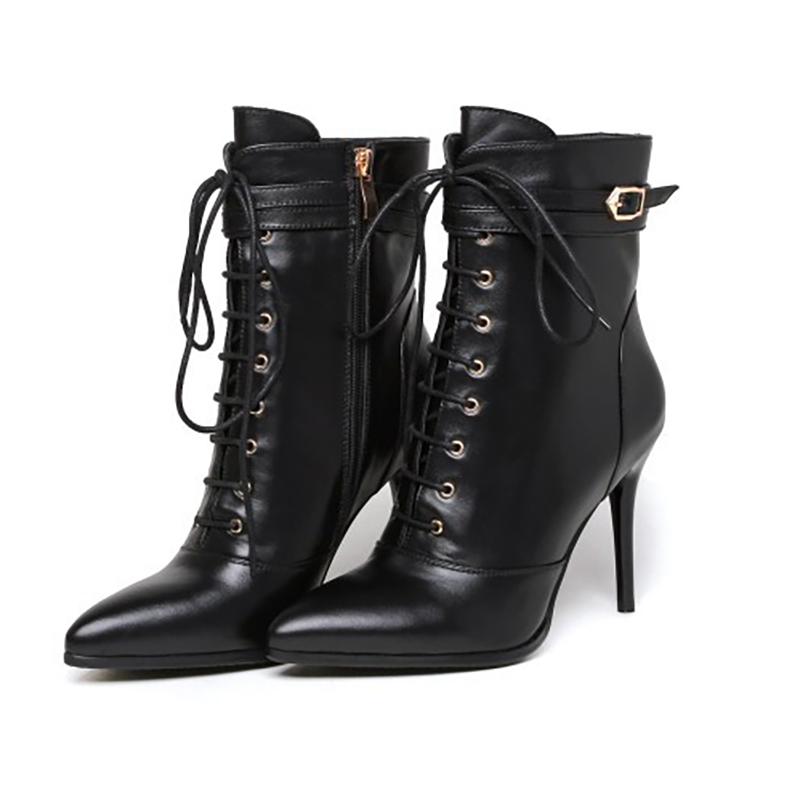 High Heels Women Genuine Leather Boots Winter 2017 New Martin Boots Lace Up Sexy Ankle Booties Pumps Shoes 2016 autumn new arrival thick heels ankle martin boots fashion rivets skull genuine leather lace up punk high heels shoes women