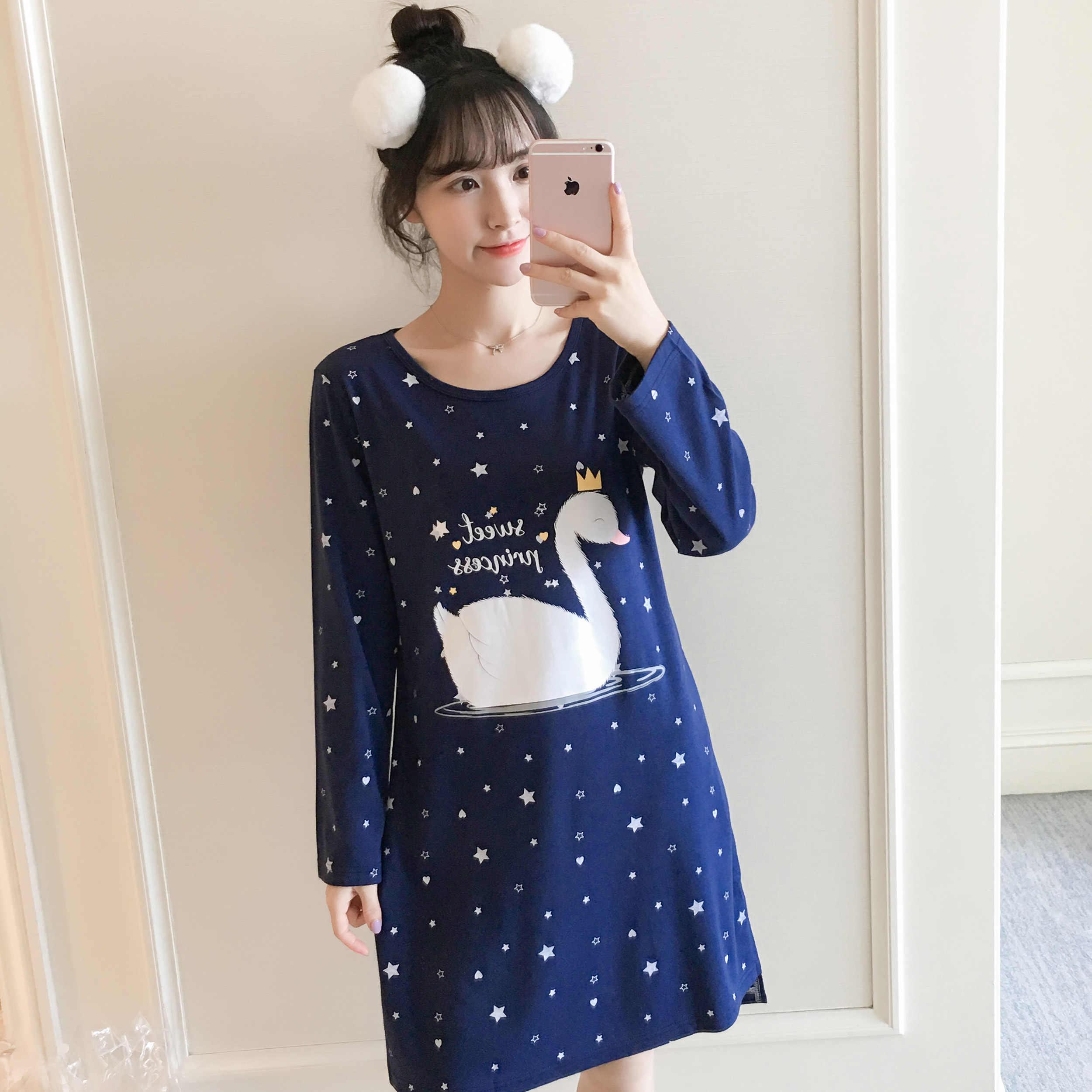 c2ed565138 2018 Autumn Winter Warm Cotton Nightgown Girl Sleepwear Nightgown Cartoon  Print Nightdress Home Wear Lovely Nightgowns