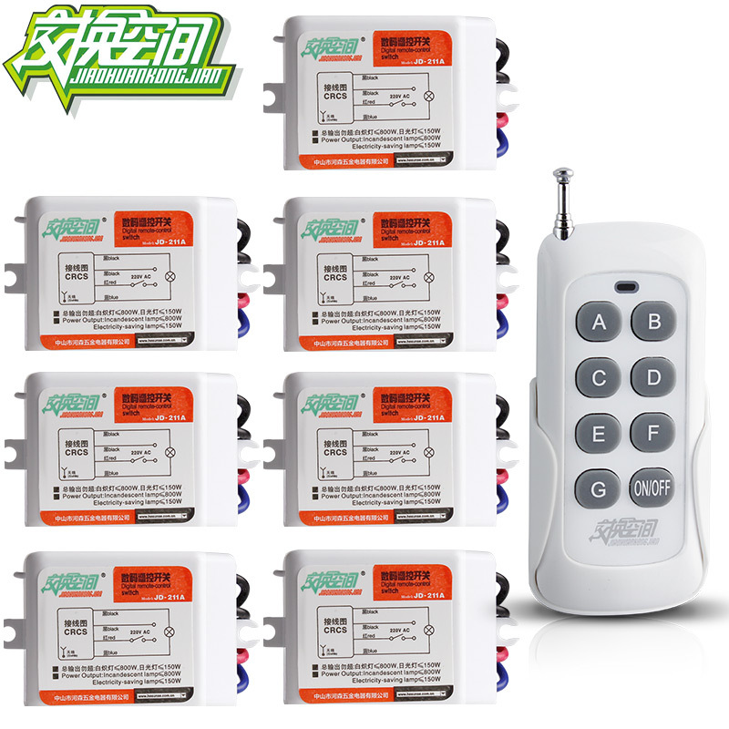 ФОТО JD211A1N7 With 7 Receivers Channel RF Digital Remote Control Switches  220V 110V