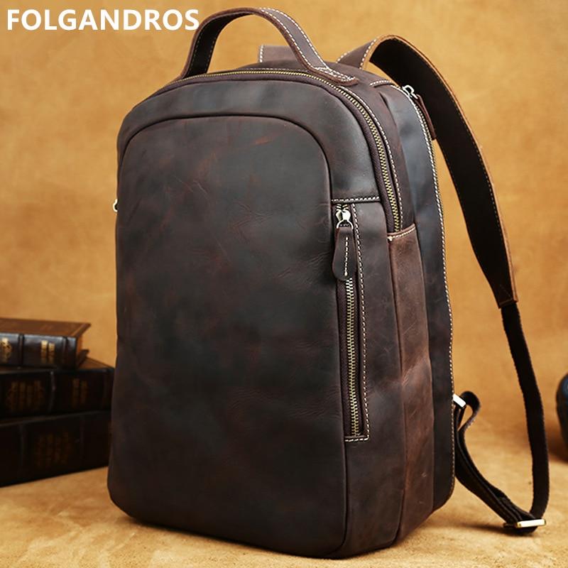 Top quality 14 laptop backpack men designer vintage business backpack genuine leather school book bag casual rucksack daypack