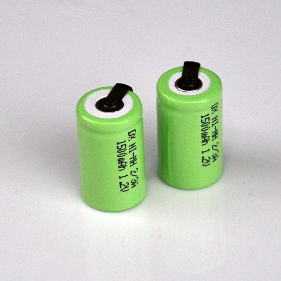 Batería recargable de 2-5 uds., 2/3A, 1,2 V, 1500mah, 1/2A, 2/3 A, celda ni-mh, nimh, para Afeitadora eléctrica, cepillo de dientes