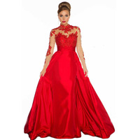 2016 New Arrival High Neck Red Lace Appliques Long Sleeve Evening Gowns Ball Gown Party Dress