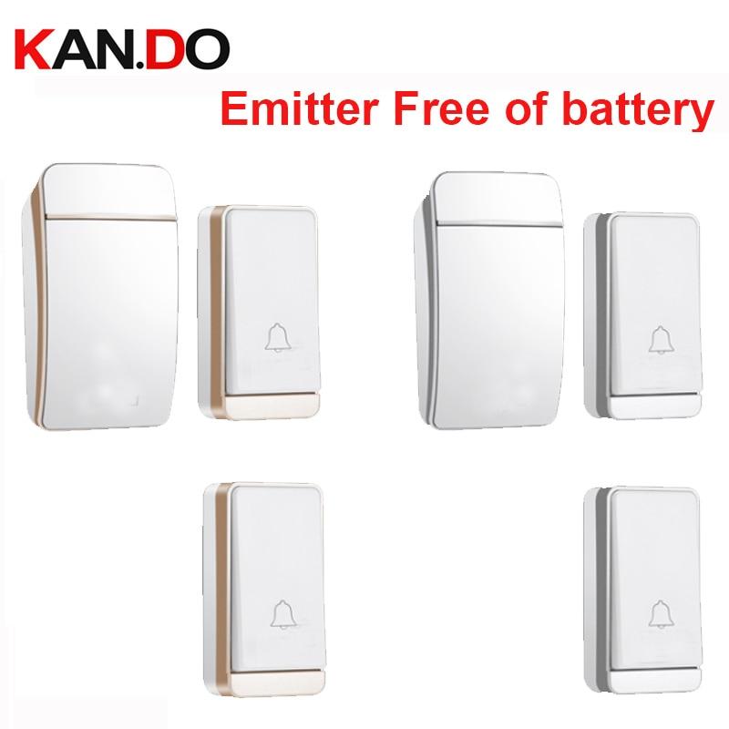 Emitter Free Of Battery 2TX 1RX Wireless Door Bell Set  Wireless Doorbell Ip44 200M Work Door Chime Door Ring Receiver 110-240V