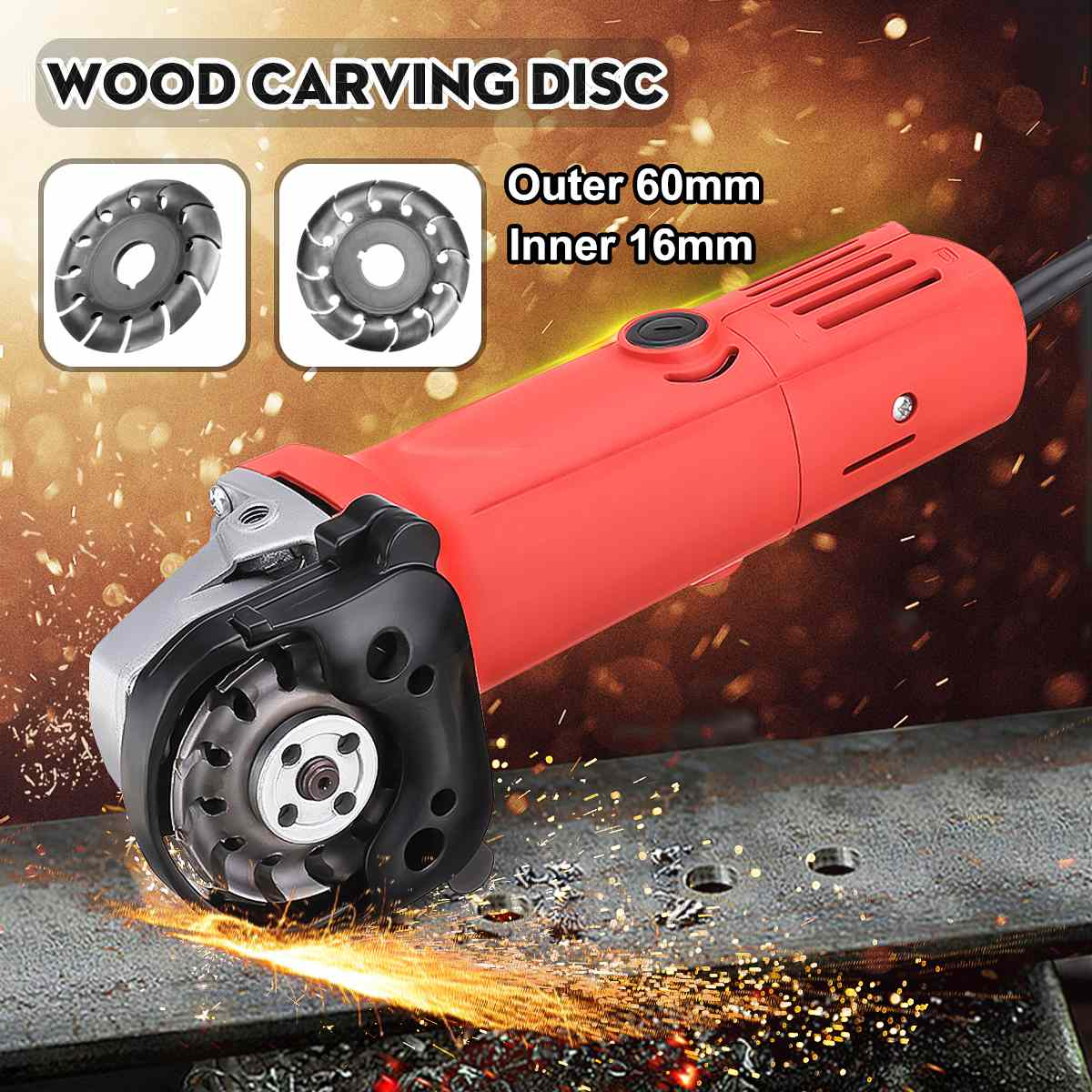 Outer 60mm Wood Carving Disc Cutting Shaping Blade With Cover For 16mm Angle Grinder Woodworking Cutting Power Tools