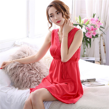 Sexy simulation silk female summer nightgown ice dress thin lace Korean version of short sleeves home