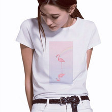 Hot selling kawaii Flamingo animal print harajuku Casual tshirt women streetwear Short Sleeve tees ulzzang summer couple clothes