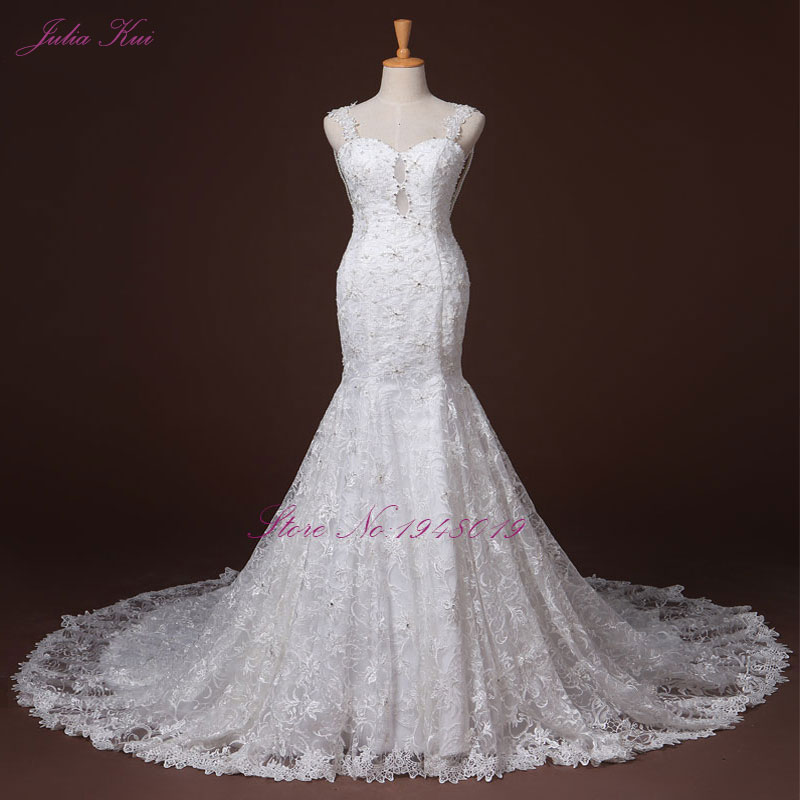 Lace Mermaid Wedding Gown With Straps: Julia Kui Beaded And Lace Mermaid Wedding Dress Romantic