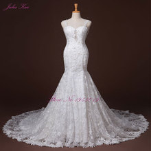 Liyuke Beaded And Lace Mermaid Wedding Dress 2017 Romantic Sweetheart Spaghetti Straps Sexy Backless Vestido De Noiva Plus Siz