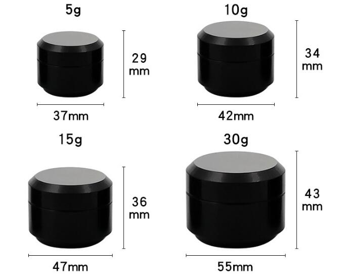 Image 3 - 10pcs Black Round Cream Bottle Jars Pot Container Empty Cosmetic Plastic Sample Box For Nail Art Gel Glitter Storage-in Refillable Bottles from Beauty & Health