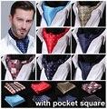 Verificación de los puntos 100% seda Ascot Pocket pañuelo cuadrado Jacquard informal vestido bufandas de la bufanda corbatas partido tejido Ascot pañuelo Set EMB