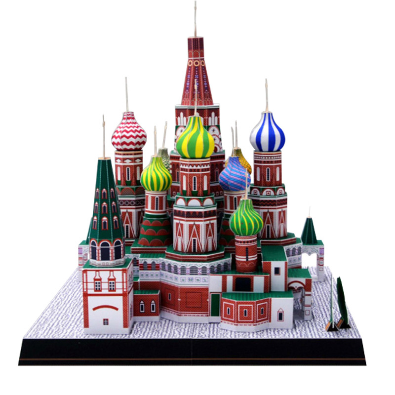 3D Paper Model Space Library Papercraft Cardboard House For Children Paper Toys Russia Saint Basil's Cathedral Building Model