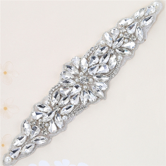 (5pieces) Wholesale Hotfix Rose Gold Crystals Rhinestone Sequin Applique  for Garment Dresses Headband Bridal Garters 2b98ffffe639