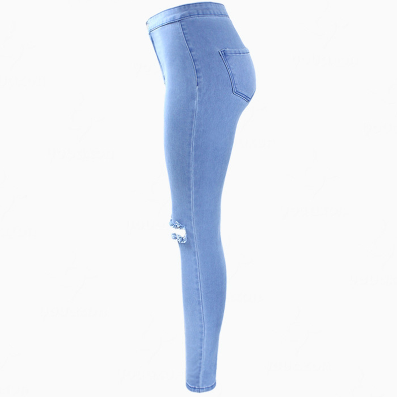 Women`s High Waist Stretch Ripped Knees Distressed Skinny Denim Jean Pants Jeans Woman