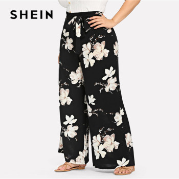 SHEIN Plus Size Black Belted Floral Print Wide Leg Pants 2019 Women Spring Summer Boho Knot Long Loose Trousers With Sashes