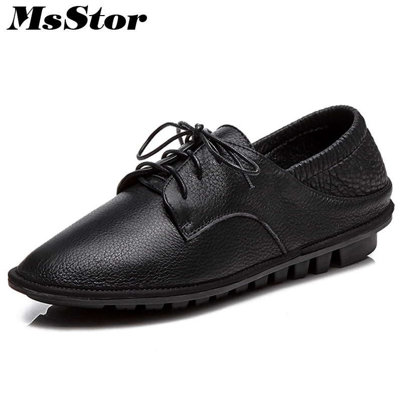 MsStor Round Toe Cross Tied Women Flats Casual Fashion Ladies White Black Flat Shoes 2018 Spring Solid Lace Up Women's Flats high quality full grain genuine leather 5cm platforms flat shoes women 2016 black white lace up round toe fashion casual flats