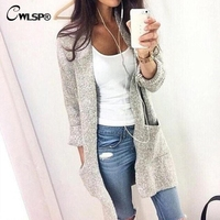 CWLSP 2017 Autumn Winter Outwear Knitted Cardigan Sweater For Women Long Jumper Coat Blusas De Inverno