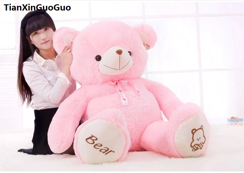 stuffed plush toy cute teddy bear toy biggest 160cm pink bear doll hugging pillow,Christmas gift h0637 stuffed animal 120 cm cute love rabbit plush toy pink or purple floral love rabbit soft doll gift w2226