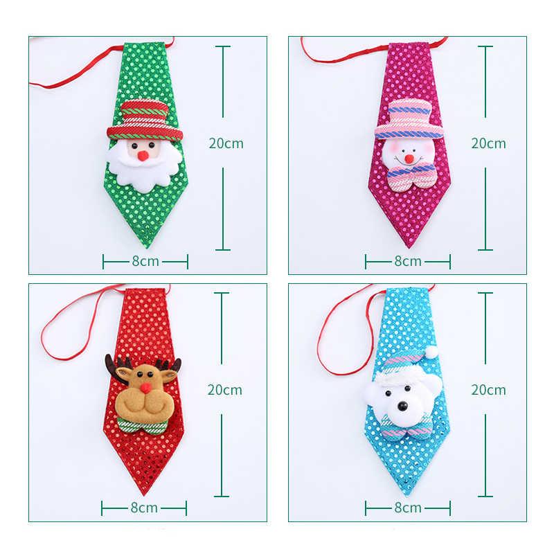 Sequins เนคไทตกแต่งคริสต์มาสสำหรับอุปกรณ์ตกแต่งบ้าน Xmas ของขวัญสำหรับปีใหม่คริสต์มาสราคาถูก