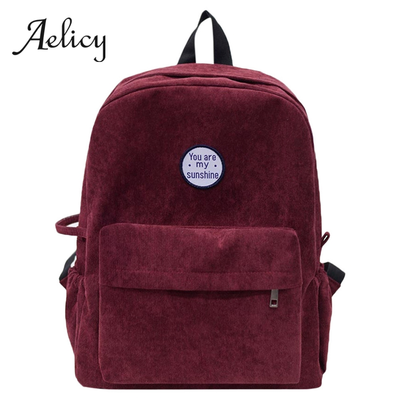 Aelicy Students Corduroy Backpack Bags Simple Fashion Preppy School Bags Casual Women Men Small Kucksack NewAelicy Students Corduroy Backpack Bags Simple Fashion Preppy School Bags Casual Women Men Small Kucksack New