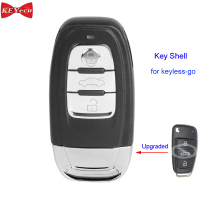 KEYECU for Audi A6L Q7 Keyless Go Flip Modified Remote Car Key Shell Case Fob Housing Cover 3 Button