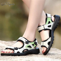 Mhysa 2019 new leather sandals ladies beach shoes summer large size magic stickers non slip sports lightweight flat sandals M201
