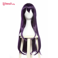 L Email Wig Hot Sale 28inches Cosplay Wigs Long Black Purple Women Heat Resistant Synthetic Hair