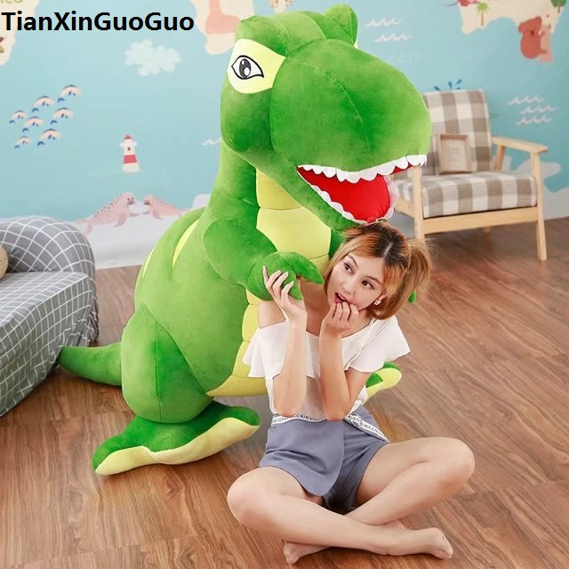 stuffed plush toy cartoon green Tyrannosaurus dinosaur huge 150cm plush toy soft doll hugging pillow toy birthday gift s0234 the huge lovely hippo toy plush doll cartoon hippo doll gift toy about 160cm pink