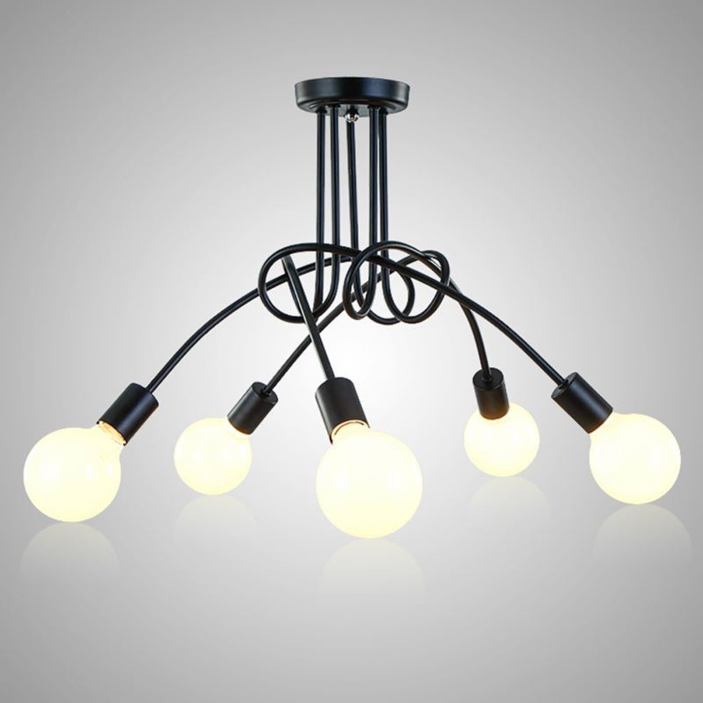 Vintage Chandelier Ceiling Lighting Black Creative Personality Ceiling Lamps Fixtures Living Room Luminaria Ceiling Lights