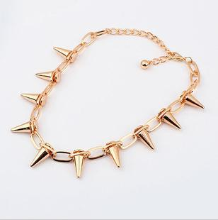 N192 Gothic Vintage Jewelry Fashion Accessories Trigonometric Cone Rivet Brand Necklaces For Women T-5.9 ABC