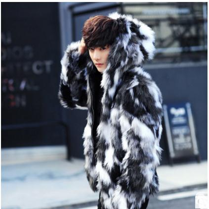 2018 S/5Xl MenS Large Size Casual Hooded Jackets Male Leisure Man-Made Fur Overcoats Faux Fur Clothes Man Fur Outwears K500