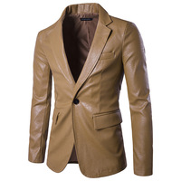 Men's Fashion Single Button PU Leather Casual Blazers New Male Slim Solid Business Formal Wear Suits Size 2XL