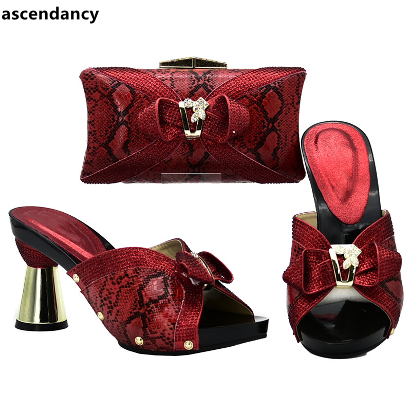 Nigérian 2018 De Mis Or rouge Femmes Avec Chaussures rose Mariage En Strass argent Et Luxe Ensemble Designer Sac Talons Assorties xBxwYqZg