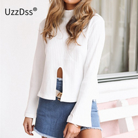 UZZDSS Turtleneck Flare Sleeve White Blouse Shirt Women Sexy Front Split Summer Tops 2017 New Party