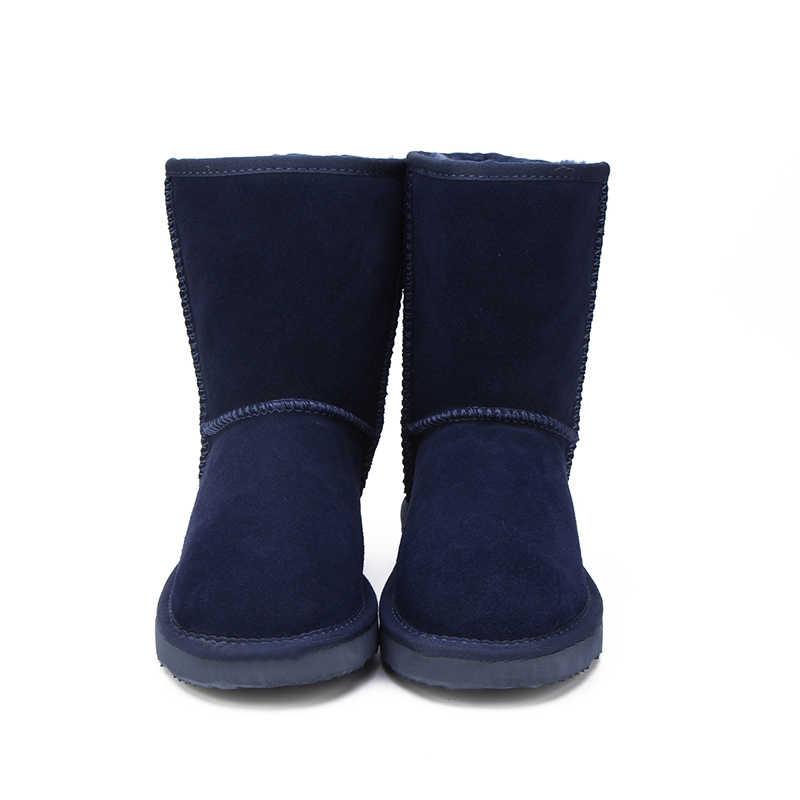 HABUCKN australiano Venta caliente 100% de moda de cuero genuino niñas invierno botas de nieve para mujer zapatos de invierno envío gratis