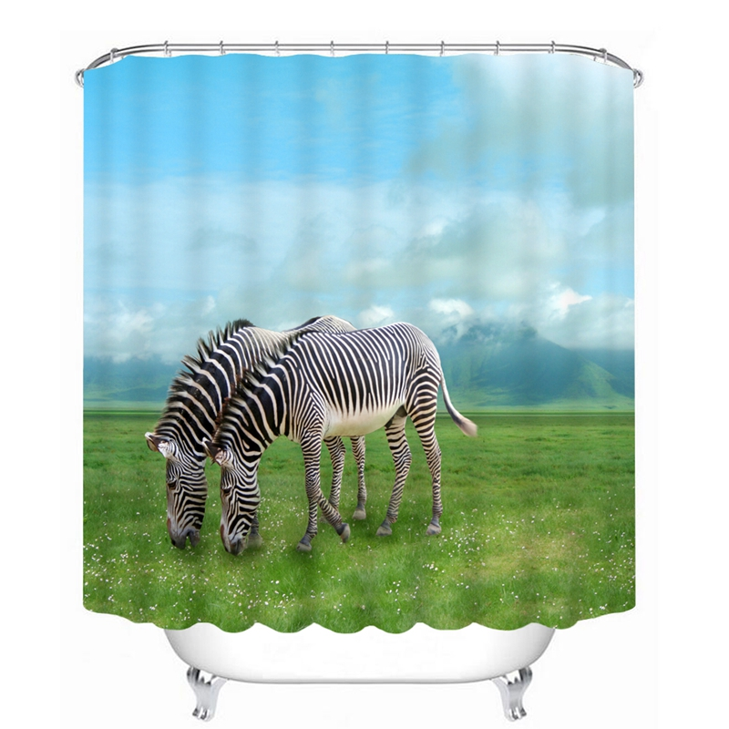 3d Shower Curtains White White Swan Tiger Zebra Animal Series Pattern Waterproof Fabric Bathroom Curtains Customizable Bathroom Products
