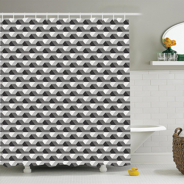 Geometric Decor Shower Curtain Set Concrete Patterns With Odd Minimalist Linked Shapes Illustration Print Bathroom