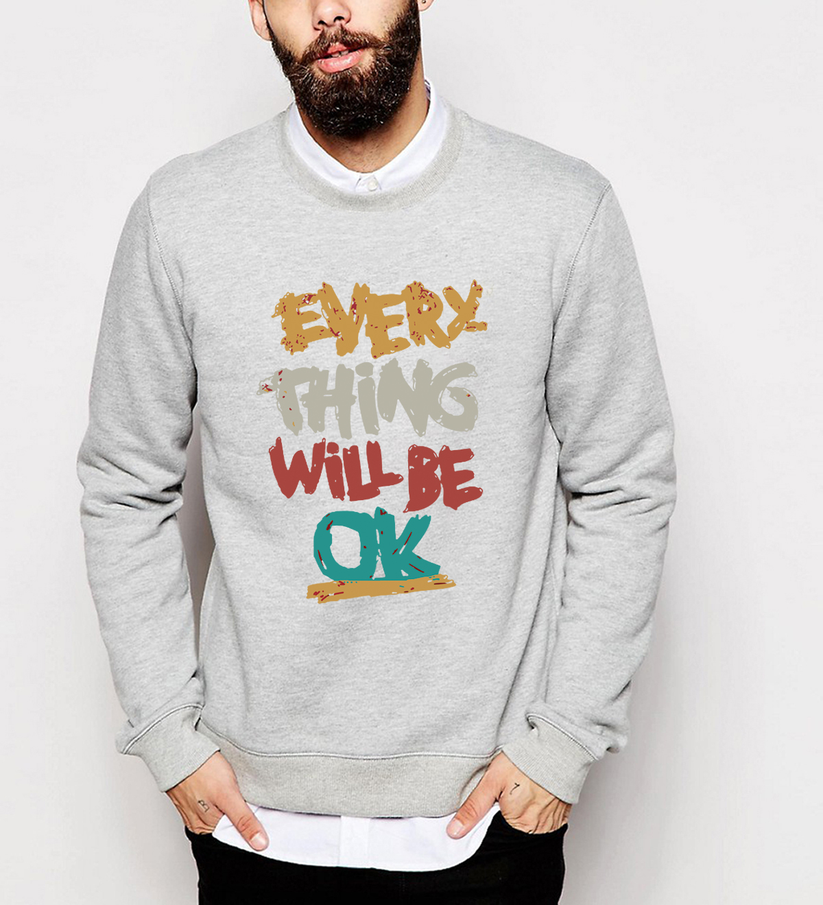 Hot Sale 2019 Men Autumn Winter Hipster Hoodies Everything Will Be Ok Print Sweatshirt Male