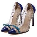 Женщины На Высоких Каблуках Моды Острым Носом Синий Туфли на шпильках Сексуальные Прозрачные Туфли На Каблуках Женской Обуви Насосы Сулье tTalon Haut Femme