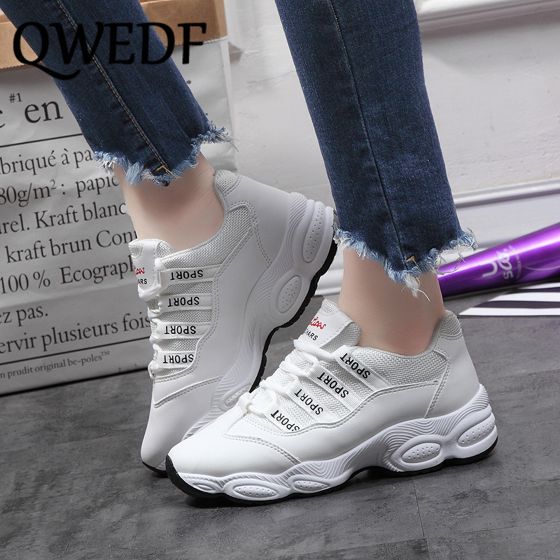 2019 Sneakers Women Increase Shoes White Casual Shoes Woman Comfort Breathable PU+Mesh Female Fashion Chunky Trainers  B3-83(China)