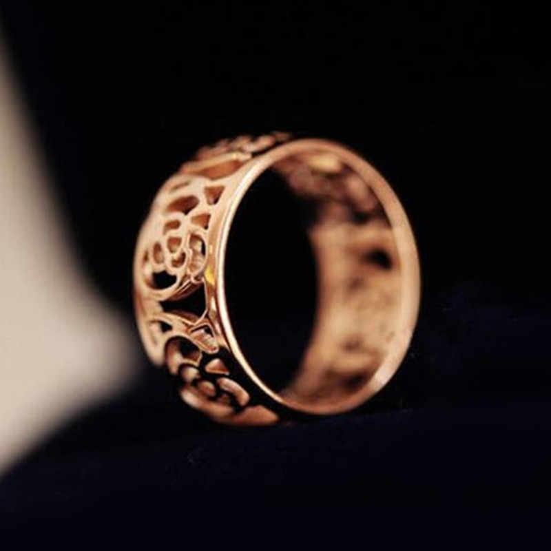 新ファッションワイドゴールドカラー多層中空リング女性のための流行のスタックリングジュエリースムーズシンプルな結婚式のカップルリングギフト